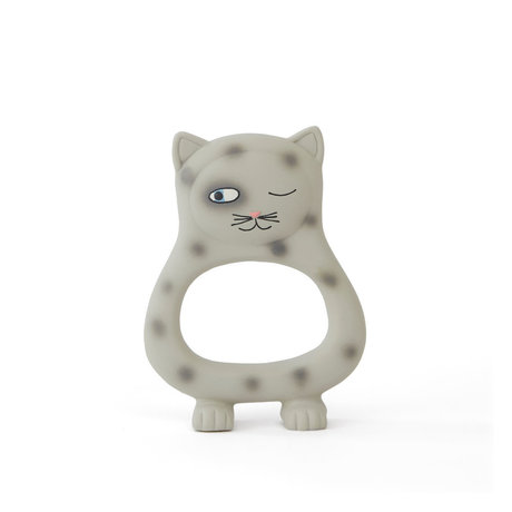 OYOY Bite toy Cat Benny gray natural rubber 13x9.5 cm