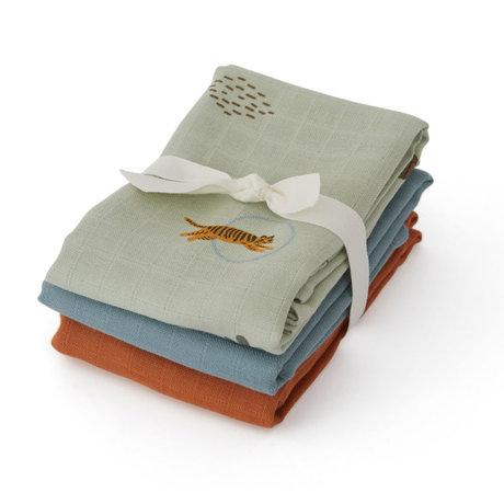OYOY Hydrofiele doekjes Tiger multicolour textiel set van 3 70x70cm
