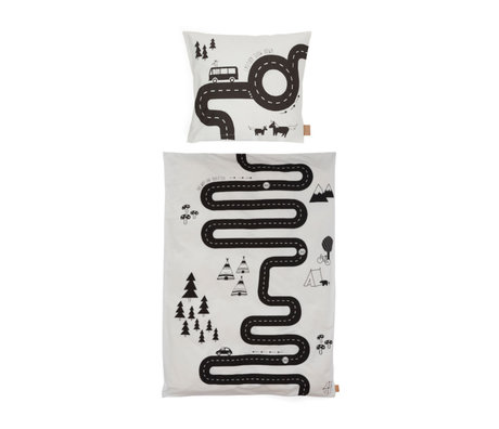 OYOY Children's duvet cover Adventure Junior off-white cotton 100x140cm - incl. Pillowcase 40x45cm
