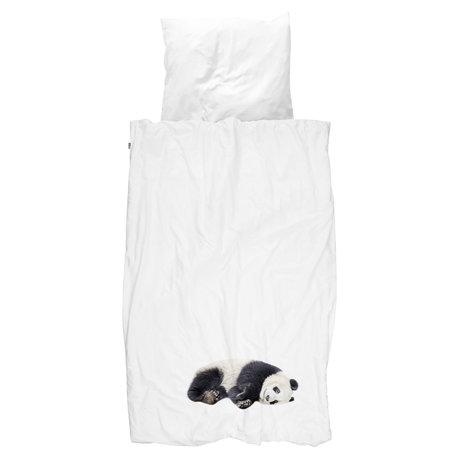Snurk Beddengoed Kinderdekbedovertrek Lazy Panda zwart wit katoen 140x200/220cm