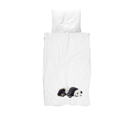 Snurk Beddengoed Kinderdekbedovertrek Lazy Panda zwart wit flanel 140x200/220cm