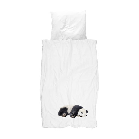 Snurk Beddengoed Children's duvet cover Lazy Panda black and white flannel 140x200 / 220cm