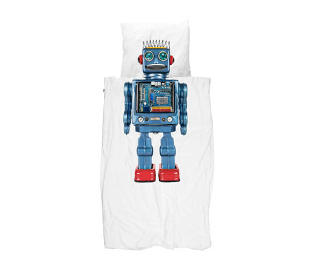 Snurk Beddengoed Children's duvet cover Robot multicolour cotton 140x200 / 220cm