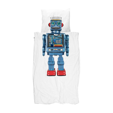 Snurk Beddengoed Kinderdekbdovertrek Robot multicolour katoen 140x200/220cm