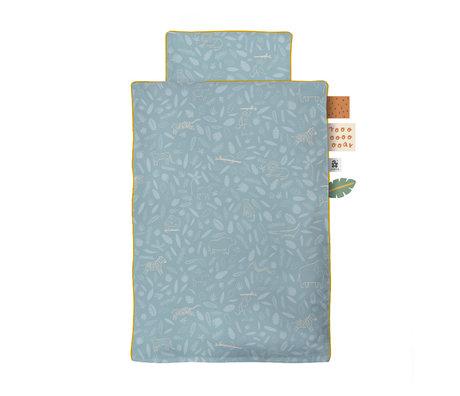Sebra Kinderdekbedovertrek Wildlife Baby blauw katoen 70x100cm - incl. kussensloop 40x45cm