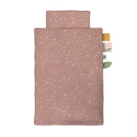 Sebra Kinderdekbedovertrek Wildlife Baby roze katoen 70x100cm - incl. kussensloop 40x45cm