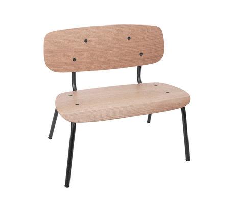 Sebra Children's bench mini brown black wood metal 56,2x25,5x59cm