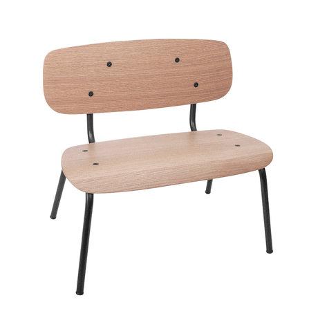Sebra Kinderbankje mini bruin zwart hout metaal 56,2x25,5x59cm