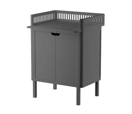 Sebra Commode Baby met deurtjes donker grijs hout 70x75x85cm