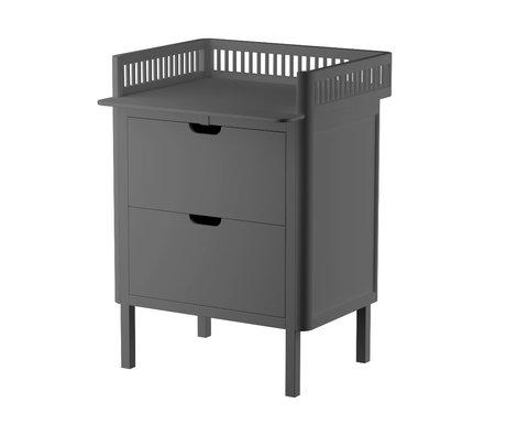 Sebra Commode Baby met lades donker grijs hout 70x75x85cm