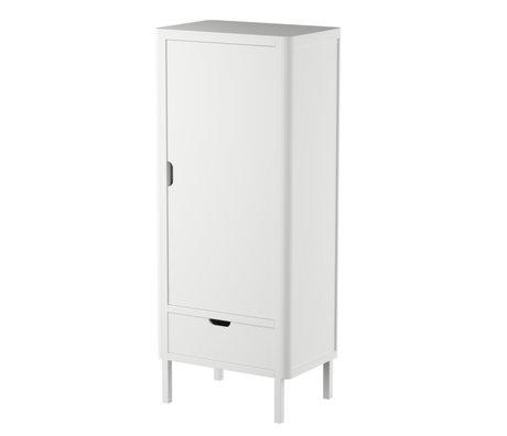 Sebra Kinderkledingkast Single deur klassiek wit hout 74x50x180cm