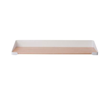 Sebra Kinderwandplank bruin wit hout metaal 60x20,4x9cm