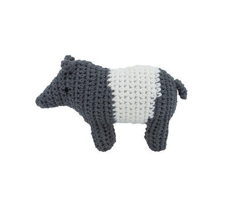 Sebra Rammelaar Tip de Tapir wit grijs textiel 11,5x8cm