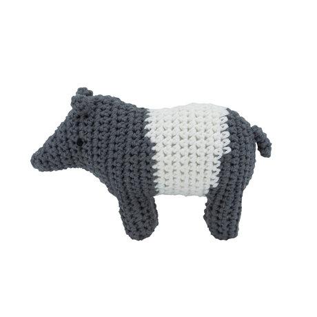 Sebra Rattle Tip de Tapir white gray textile 11.5x8cm
