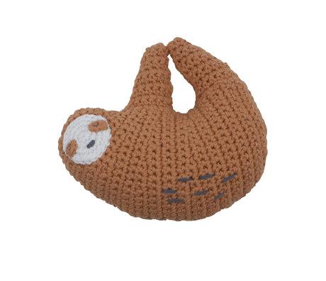 Sebra Rattle Lacey the Sloth brown textile 10x9cm