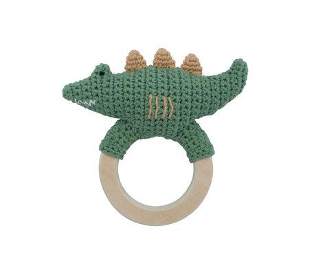Sebra Rattle Ali green textile 12x12.5 cm