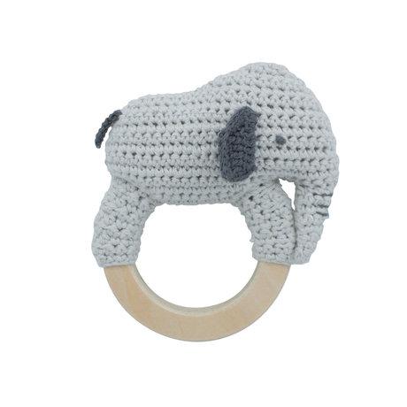 Sebra Rattle Finley light gray textile 12x12.5 cm