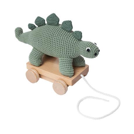 Sebra Dino animal green textile wood 26x13x22cm