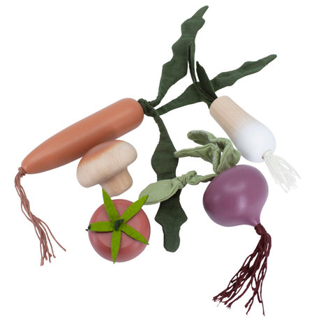 Sebra Speelgoed eten Groente multicolour hout set van 5