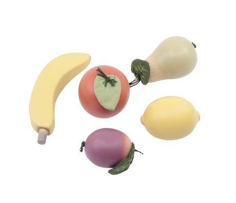 Sebra Toy food Fruit multicolour wood set of 5