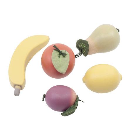 Sebra Speelgoed eten Fruit multicolour hout set van 5