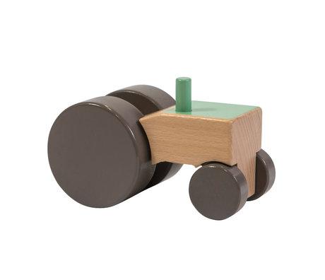 Sebra Speelgoed Tractor groen multicolour hout 13,2x7,1x8,2cm