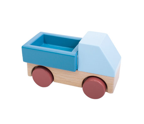 Sebra Speelgoed Vrachtwagen blauw multicolour hout 14x7x9cm