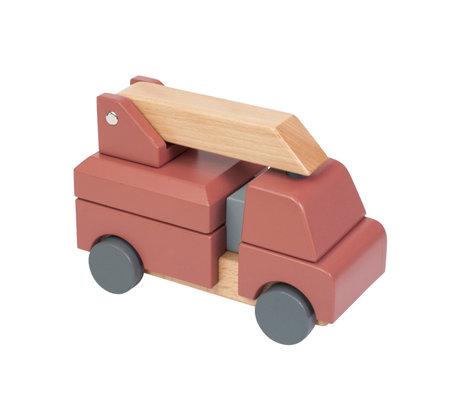 Sebra Speelgoed Brandweerauto rood multicolour hout 20x9,1x13,3cm