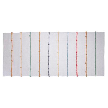 Sebra Kindervloerkleed Dots wit multicolour textiel 180x80cm