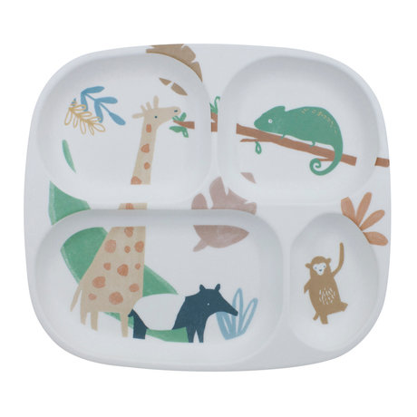 Sebra Kinderbord vier vakjes Wildlife wit multicolour melamine 24x21x2cm