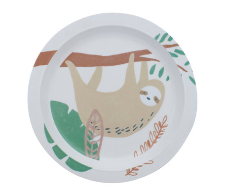 Sebra Kinderbord Wildlife wit multicolour melamine Ø21,5x2cm
