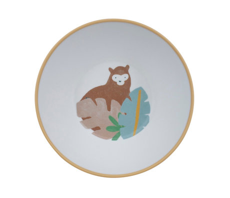 Sebra Kinderkom Wildlife wit multicolour melamine Ø15,5x6cm