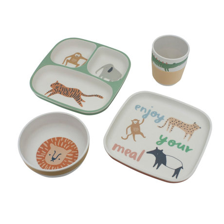 Sebra Kinderservies Wildlife multicolour bamboe melamine set van 4