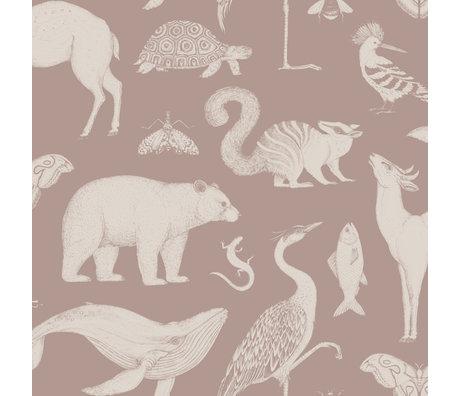 Ferm Living Children's wallpaper Katie Scott Animals dusty pink 10x0.53m