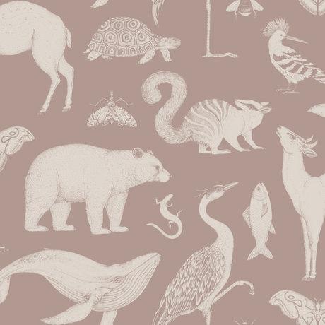 Ferm Living Kids wallpaper Katie Scott Animals dusty pink 10x0.53m