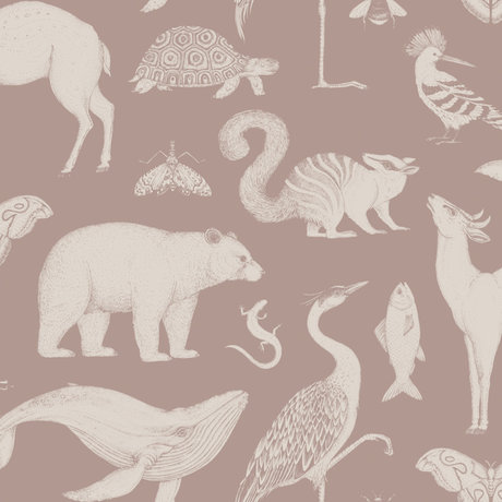 Ferm Living Kinderbehang Katie Scott Animals dusty roze 10x0,53m