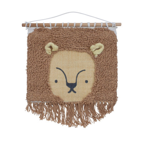 Sebra Children's wall rug Wildlife Lee the lion brown textile 31x35cm