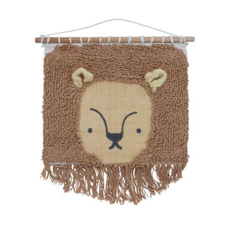 Sebra Kinderwandkleed Wildlife Lee de leeuw bruin textiel 31x35cm