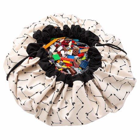 Play & Go Child's storage bag / play mat Arrows black cream cotton ø140cm
