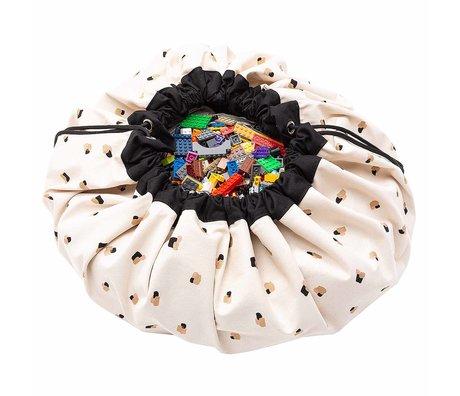 Play & Go Child's storage bag / play mat Paint swipes black cream cotton ø140cm