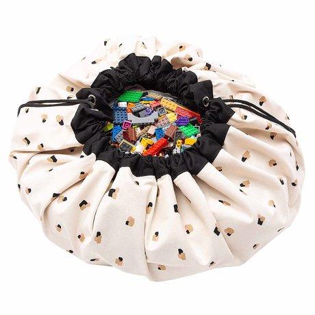Play & Go Kinderopbergzak/speelkleed Paint swipes zwart crème katoen ø140cm