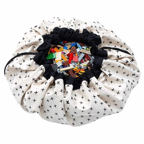 Play & Go Child's storage bag / play mat Crosses black cream cotton ø140cm