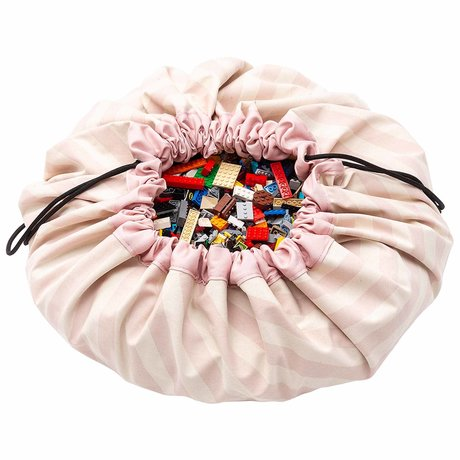 Play & Go Child's storage bag / play mat Stripes Pink light pink cotton ø140cm