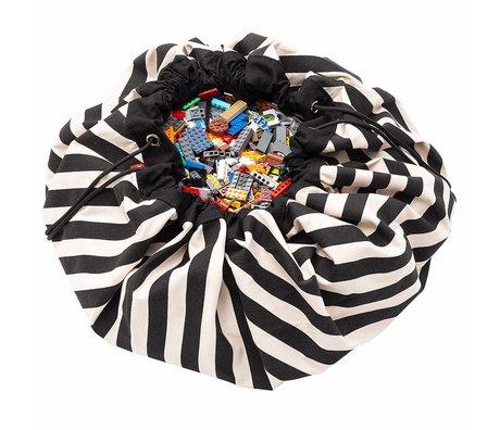 Play & Go Kinderopbergzak/speelkleed Stripes Black zwart katoen ø140cm