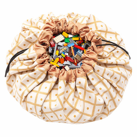 Play & Go Child storage bag / play mat Geo Mustard yellow cotton ø140cm