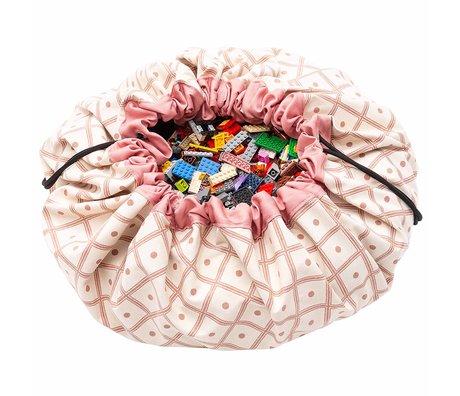 Play & Go Child storage bag / play mat Geo Corral pink cotton ø140cm
