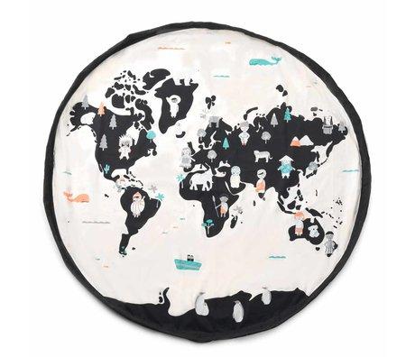 Play & Go Kinderopbergzak/speelkleed Worldmap pastel zwart crème katoen ø140cm