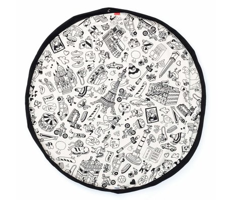 Play & Go Kinderopbergzak/speelkleed Color My bag OMY PARIS zwart crème katoen ø140cm