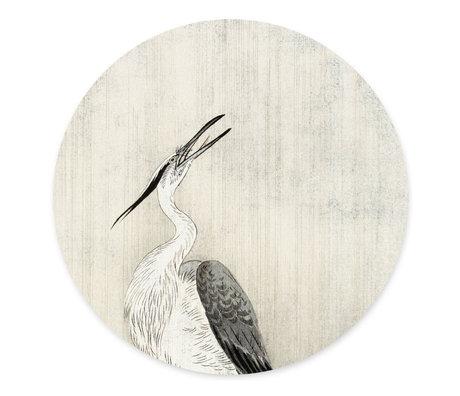 Groovy Magnets Kindermagneetsticker Heron in the rain gebroken wit zelfklevend vinyl met ijzerdeeltjes Ø60cm