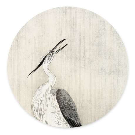 Groovy Magnets Children's magnet sticker Heron in the rain off-white self-adhesive vinyl with iron particles Ø60 cm